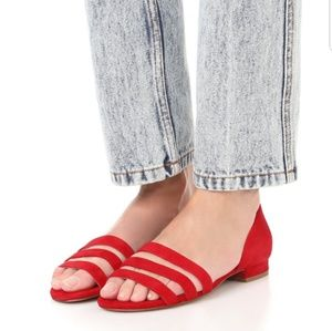 Madewell Leila Sandals Suede Red Women's Size 7.5